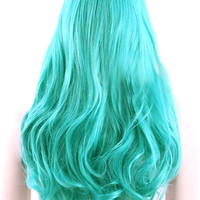 Ocean Blue Heat-resistant Fiber Center Parting Long Halloween Wig