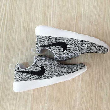 custom nike roshe yeezy boost 350 run sneakers athletic running womens gray/white color shoes