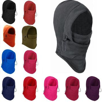 Fashion Couple Unisex 6 In 1 Thermal Fleece Balaclava Outdoor Ski Masks Bike Cyling Beanies Wind Stopper Face Hats