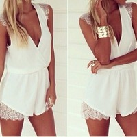 White Sleeveless Romper - Mint & Pink