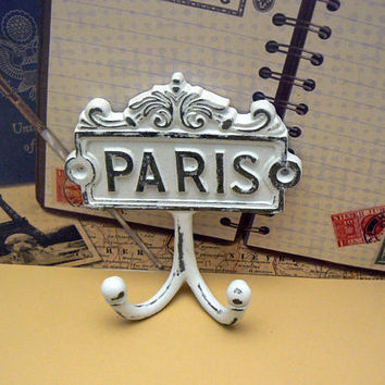 Paris Cast Iron Wall Hook WHITE French Shabby Style Chic Design Art Decor Paris Jewelry Towel Leash Key Mudroom Double Hook