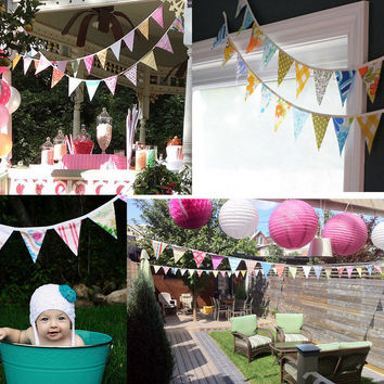 12pcs/Set Flags 3.2m Black White Cotton Party Wedding Pennant Bunting Banner Decor Party Flags Party Home Decoration
