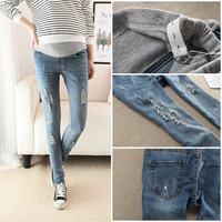 840# Korean Fashion Autumn Maternity Pencil Hole Jeans Slim Pants Clothes for Pregnant Women Skinny Belly Trouser For Pregnancy = 1946761540
