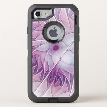 Beautiful Pink Flower Modern Abstract Fractal Art OtterBox Defender iPhone 8/7 Case