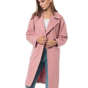 LE3NO Womens Fully Lined Oversized Single Button Long Winter Fleece Coat with Pockets