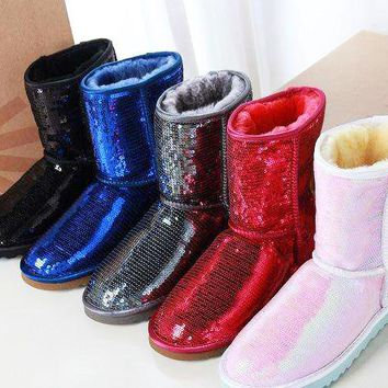 UGG Hot Sale Women Men Shiny Sequins Flats Wool Snow Boots Half Boots Shoes