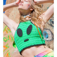 Alien Eyez crochet psychedelic trippy groovy festival/hippie/rave top perfect for EDC Coachella Burning Man Electric Forest