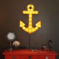 Anchor Vintage Marquee Sign with Lights (Rustic)