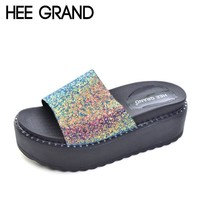 HEE GRAND 2017 Summer Creepers Glitter Platform Gladiator Slides Casual Shoes Woman Sl