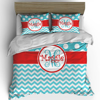 Personalized Bedding Set - Red, Aqua Blue
