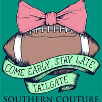 Southern Couture Football Bow Tailgate Come Early Stay Late Comfort Colors Long Sleeve Girlie Bright T Shirt