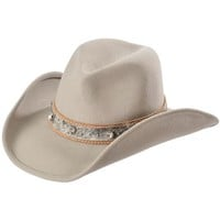 Scala Embellished Hair-on Hide Hat Band Wool Cowgirl Hat - Sheplers