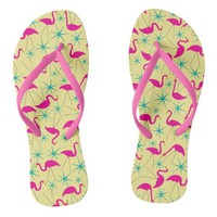 Nifty fifties - pink flamingos and stars flip flops