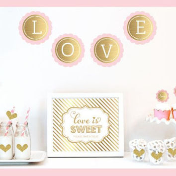 Gold and Blush Bridal Shower Decoration Kit