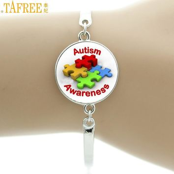 Autism Awareness Puzzle Pieces Picture glass cabochon bracelet  for autism jewelry gifts