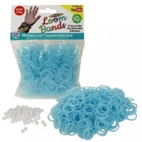 Loom Rubber Bands - 300 pc Glow in The Dark Rubber Band Refill Pack (BLUE) -100% Latex Free