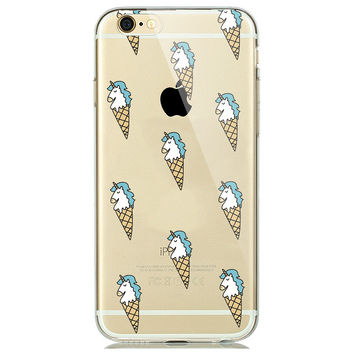 Soft Transparent Fashion Unicorn Ice Cream Cone Collage Clear Case Cover Shell for iPhone 6 6s