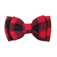 Red Plaid Flannel Hair Bow
