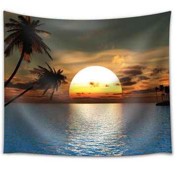 Papa&Mima Scenic Beach Sunset Print India Thailand Wall Tapestry Polyester 148x130cm 58x51inch Carpet Decorative Blankets