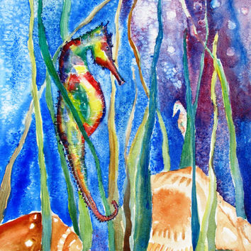 Original Watercolor Painting, Seahorse, Animal,Shells,12x16, beach theme,nautical theme,childs room, childrens room, nursery, new baby, boys