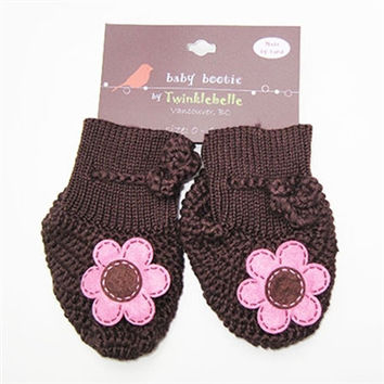 Handmade Cotton Baby Booties - Brown Flower