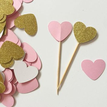 Glitter Gold/Pink double-sided Heart 1in Cupcake Toppers Wedding Food Picks Babay Shower Party Favors Cake Decoration Supplies