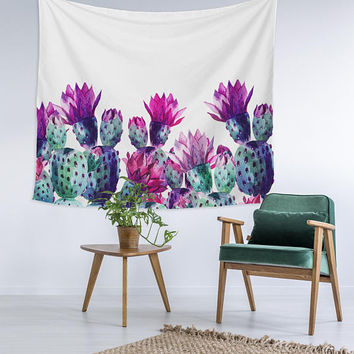 Watercolor Cactus desert purple Wall Art College Apartment Unique Dorm Room Decor Trendy Wall Tapestry