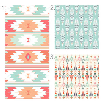 Coral Mint Tribal Crib Bedding Set, Girl Crib Sheet, Crib Skirt, Bumper, Feather Arrow Southwest Nursery