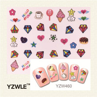 Fashion Style 1 Sheets 3D Design Cute DIY Cartoon Colorful Diamonds Tip Nail Art Nail Sticker  Manicure Nail Tools