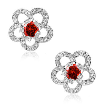 Flower W. Red Cubic Zirconia Stud Earrings