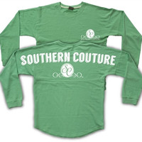 Southern Couture Logo Green Sweeper Jersey Pullover Spirit Long Sleeve T Shirt