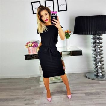 2018 New Summer Fashion Women Casual Short Sleeve O-Neck Straight Black Gray Blue Dress Loose Plus Size Pocket Cotton Midi Dress