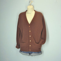 Vintage 70s Cardigan Sweater / Brown Grandpa Cardigan / Slouchy Sweater