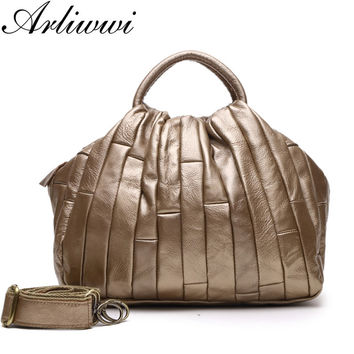 Arliwwi Brand 100% Genuine Leather Tote Bags For Women Real leather Fashion Silver Gold Patchwork Designer Crossbody Handbag