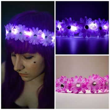 LED Flower Headband, LED Flower Crown, Light up Flower Crown, Led Flower halo, Festival wear, Rave, Tomorrowworld, EZOO, Rave outfit
