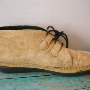 Vintage Soft suede Leather Moccasins ankle boots  ... Tan Buckskin Caio Sport women's 10