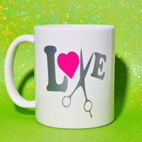 HAIR DRESSER SALON STYLIST LOVE COFFEE MUG