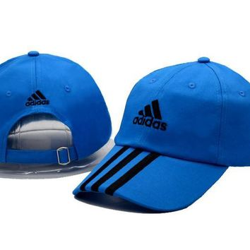Blue Adidas Printed Cotton Baseball Golf Cap