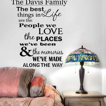 Personalized Custom Family Name The Best Things In Life Vinyl Wall Decal Sticker