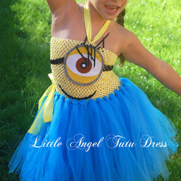Yellow / Blue Minion Despicable Me 2, Handmade tutu dress, minion costume, Party dress, minion fancy dress - Age 3 4 5 6 7 8 9 10 11
