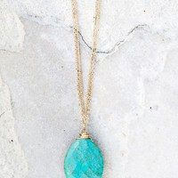 No Stone Unturned Necklace- Turquoise - NEW ARRIVALS