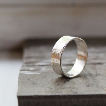 Rustic Simple Wedding Band of Hand-Hammered 14k White Gold