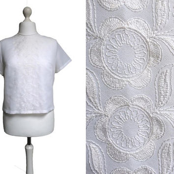 White Blouse - Large - 1950's Blouse - 50's Vintage Top - White Embroidered Short Sleeve Blouse