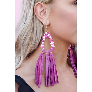 Brighten Up My Day Drop Earrings (Fuchsia)