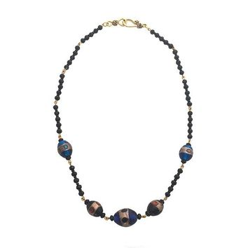 Blue and Brown Blown Glass Linked Black Bead Handmade Necklace