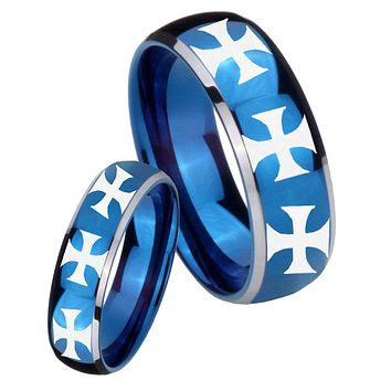 His Her Glossy Blue Dome Multiple Maltese Cross Two Tone Tungsten Wedding Rings Set