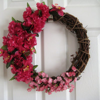 Grapevine Wreath 14 Round Hand Decorated Carnations, Orchids, Summer Flowers, Mother's Day Gift, Front Door or Wall Decor