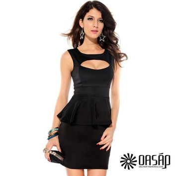 Hollow-out Chest Peplum Dress Black Mini Dress Deep Neckline Dress Cutout front Women Dress