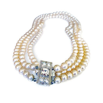 Pearl Necklace, Rhinestone Clasp, Polished Pearls, Glass Pearls, Choker Necklace, Vintage Jewelry