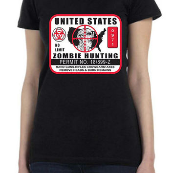 Funny Zombie Hunting Permit Custom Design Printed T Shirt in White or Black for Men or Women in all Sizes...Free Shipping!!